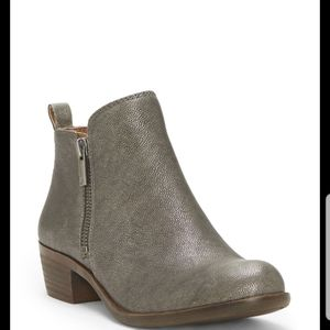 Lucky Brand Basel metallic leather ankle boots 7